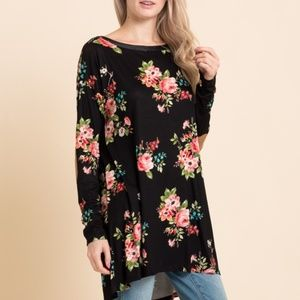 Elbow Patch Floral Tunic